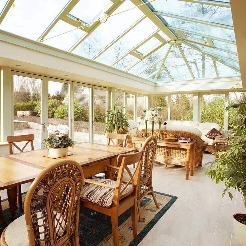 Conservatory roof fully glazed