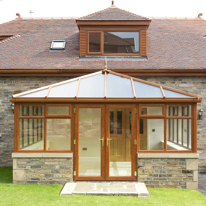 Oak coloured windows and doors