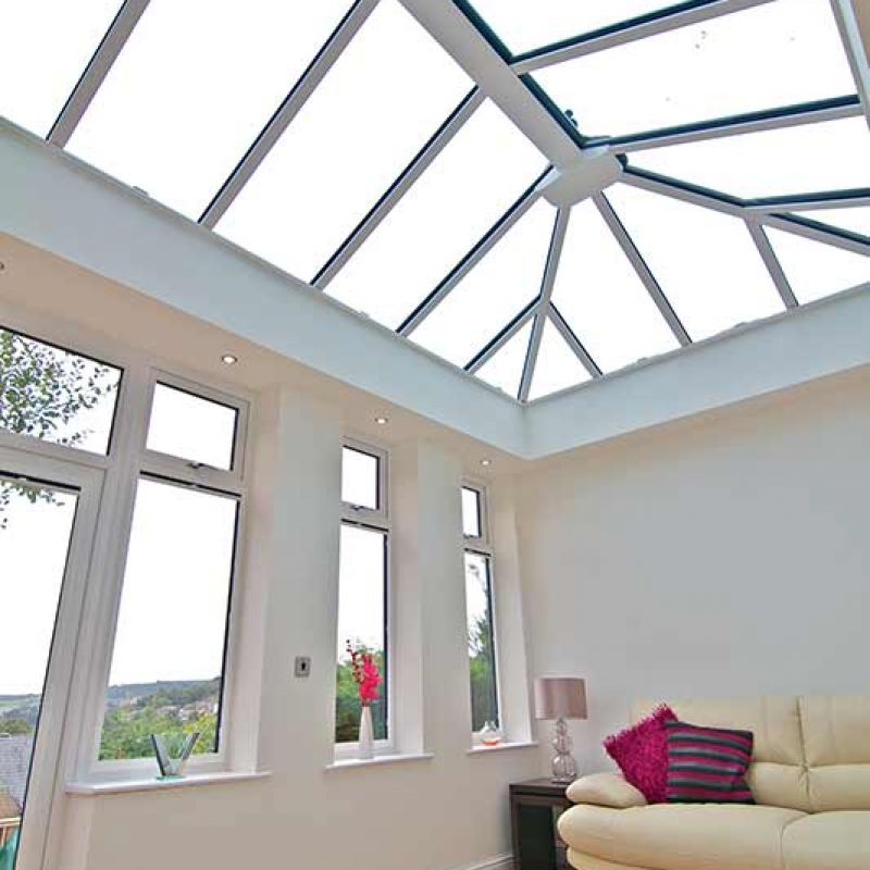 Glass roof for conservatory