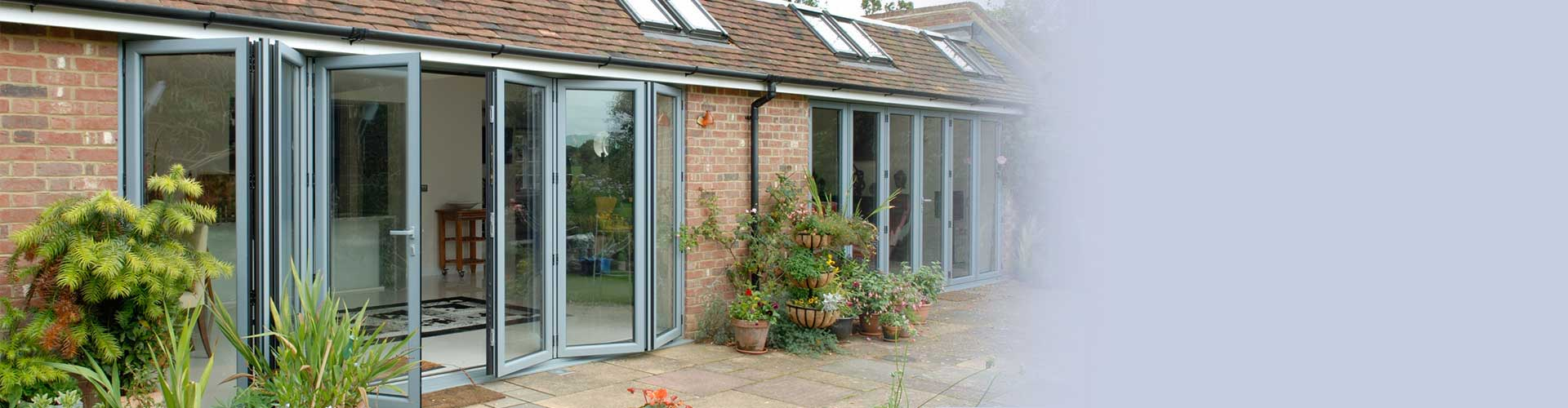 An aluminium b-fold door with large aperture