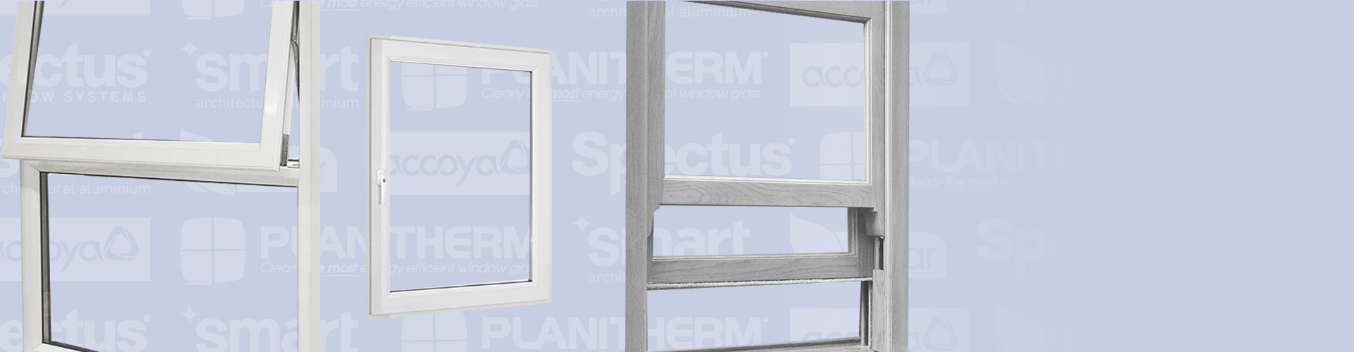 Window systems in uPVC, aluminum and timber with supplier logos